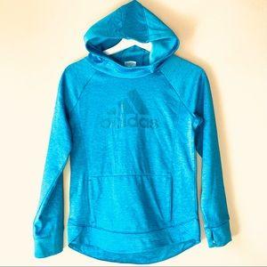 Adidas girls put it pullover hoodie sweatshirt teal large 14 logo thumbholes